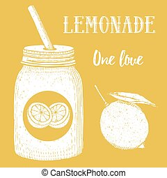 Lemonade in hipster jar with straw in vintage style, vector...