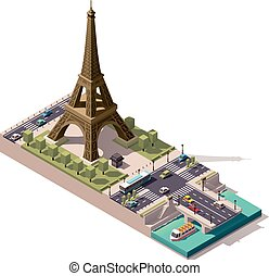 Vector isometric map of the Eiffel Tower