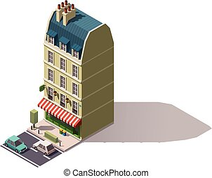 Vector isometric Paris building