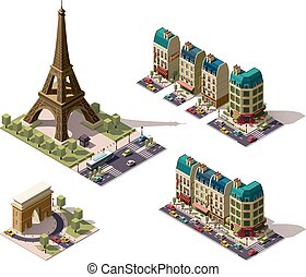 Vector isometric Paris architecture elements - Set of the...