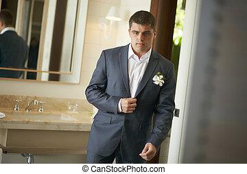 bonito, e, forte, homem, pôr, ligado, oficial, suit.,