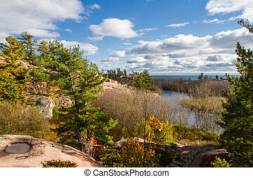 Autumn in Killarney Provincial Park - Autumn trees , red...