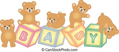 Baby blocks with teddy bear - Scalable vectorial image...