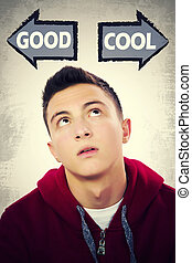 Teenage boy facing choice between being GOOD and COOL -...