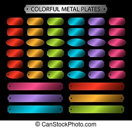 Colorful metal plates set