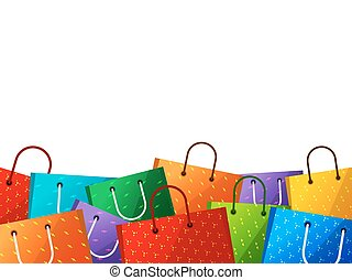 Shopping bags white background