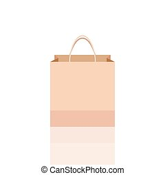 Empty vector shopping bag on white