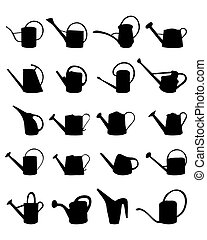 watering cans - Black silhouettes of watering cans on white...