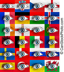 set of eyes with ero 2016 nations flags