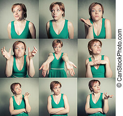 set of female with varios expressions