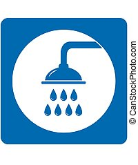 blue shower head sign with water drops