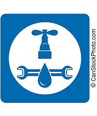 plumbing service sign wth tap and water droplet
