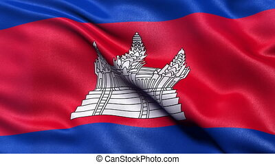 Cambodia flag seamless loop - Realistic flag of Cambodia...