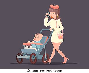 Cute mother with child. Isolated vector illustration.