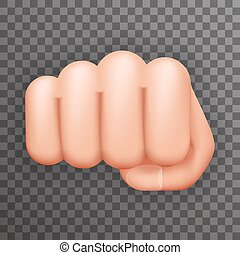 Realistic 3d Punch Fist Hand Palm Icon Social Power Courage...