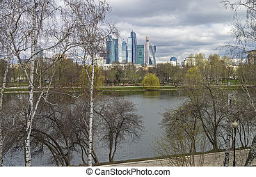 Modern skyscrapers and the old pond - View of the Moscow...