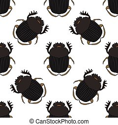 Seamless pattern with dor-beetle Geotrupidae hand-drawn...