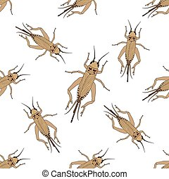 Seamless pattern with cricket or grig Gryllus campestris...