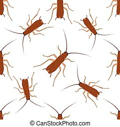 Seamless pattern with cockroach. blattella germanica...