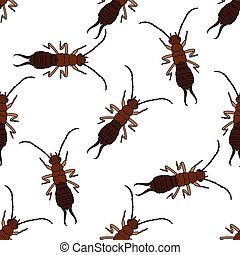 Seamless pattern with Earwig Forficula auricularia...