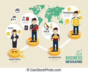 Business investment funds board game flat line icons concept...