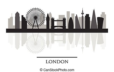 London skyline, black and white stylish silhouette