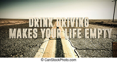 drink driving - 3d illustration of an advertise sign in a...