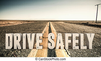 drive safety - 3d illustration of an advertise sign on a...