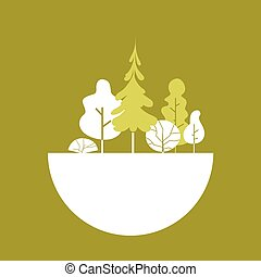 Silhouette Green Forest Logo Flat  Illustration