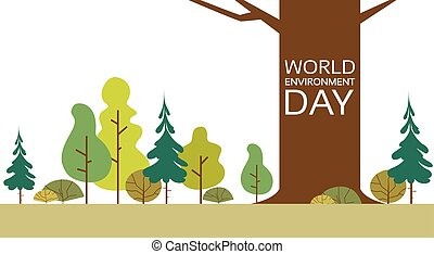World Environment Day Forest Nature Landscape Tree Flat...