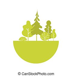 Silhouette Green Forest Logo Flat Vector Illustration