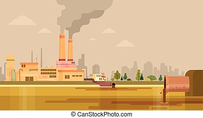 Nature Pollution Plant Pipe Dirty Waste Water Polluted...