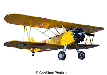 Bi-Plane - A yellow bi plane isolated on white