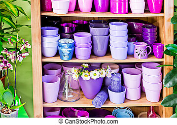 detail of new violet flowerpots in the market