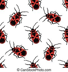 Seamless pattern with bug-soldier or Firebug . hand-drawn...
