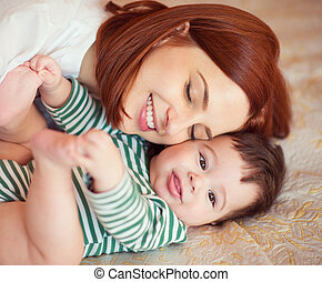 Portrait of happy beautiful mother and baby - Sweet portrait...