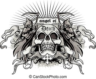 skull - Gothic coat of arms with skull, grungevintage design...