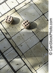 Wooden dice on table - Two wooden dices on table