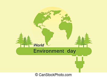 World Environment Day Green Silhouette Forest Earth Planet...