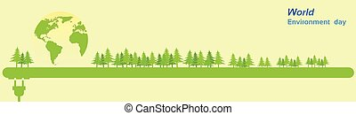 World Environment Day Green Silhouette Forest Banner Flat...