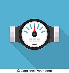 Water Meter Flat Icon - Water meter Vector illustration of...