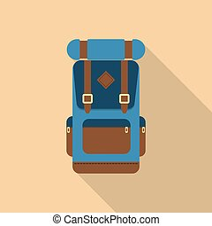 Backpack front view. - Vector flat modern set of hiking...