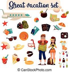 Travel icons, set cartoon elements of holidays