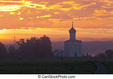 Beautiful sunrise over Church of the Intercession of the...