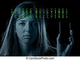 móvil, Cyber, preocupado, intimidar, teléfono, Adolescente,...