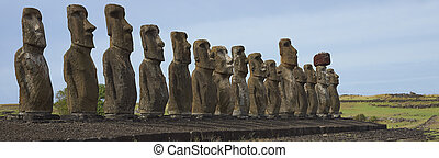Ahu Tongariki, Easter Island - Ahu Tongariki Ancient Moai...