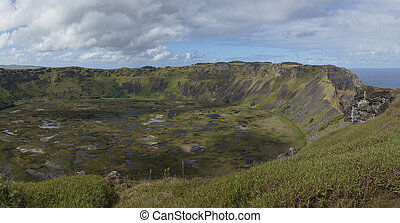 Volcano Rano Kau, Easter Island - Caldera of the extinct...