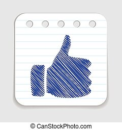 Doodle Thumbs Up icon. Blue pen hand drawn infographic...