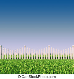 Picket fence - Backfront yard picket fence ,grass and clear...