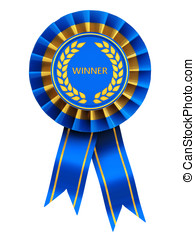 Rosette - Winner , blue and gold rosette , isolated on white